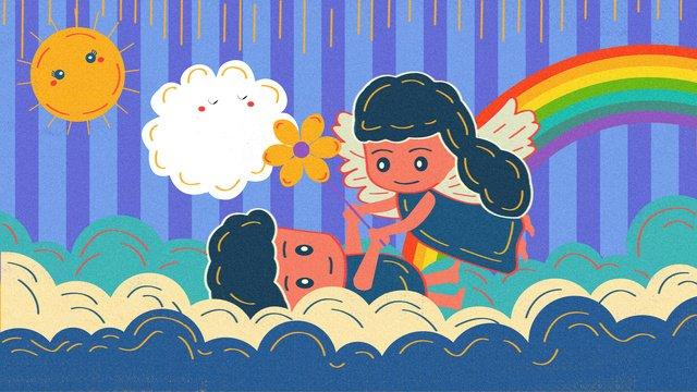 Children roaming the cloud retro texture, Roaming Cloud, Children, Rainbow illustration image