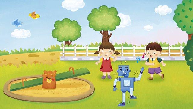 放課後のロボット人工知能かわいい子供たちの将来の生活 イラスト素材 イラスト画像