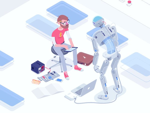 Vector futuristic technology artificial intelligence illustration, Robot, Technology, Future illustration image