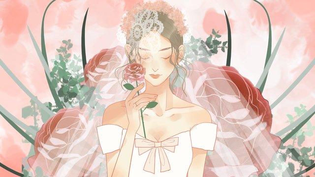 バラを保持しているウェディングドレスのロマンチックで美しい花嫁 イラスト素材