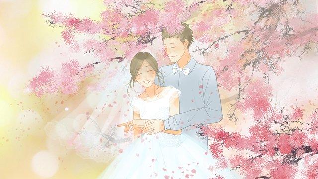 cây anh đào tươi mới lãng mạn dưới váy cưới người Hình minh họa