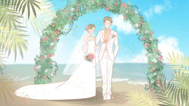 ロマンチックな新鮮な結婚式の季節の海辺の結婚式 イラスト素材 イラスト画像