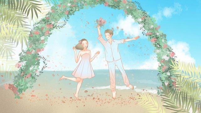 द्वीप शादियों को आयोजित करने के लिए रोमांटिक और छोटे नवागंतुकों चित्रण छवि चित्रण छवि