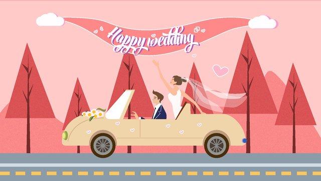 ピンクのロマンチックな結婚式のイラスト イラスト素材 イラスト画像