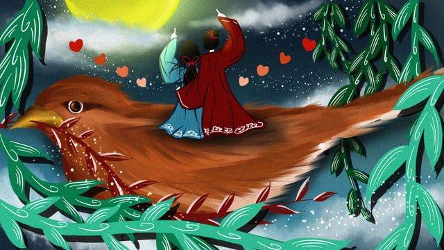 Romantic tanabata couple standing on the magpie, Romantic, Tanabata, Magpie illustration image
