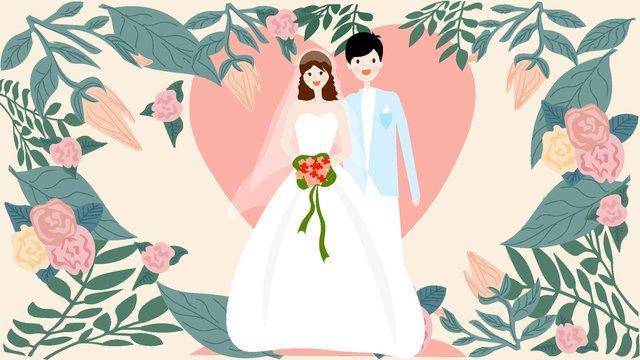 ピンクのロマンチックな結婚式の招待状の図 イラスト素材 イラスト画像