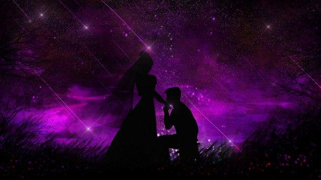 romantic beautiful couple silhouette under the stars llustration image illustration image