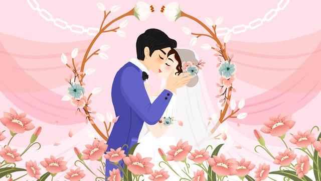 mùa cưới lãng mạn chú rể cô dâu minh họa Hình minh họa