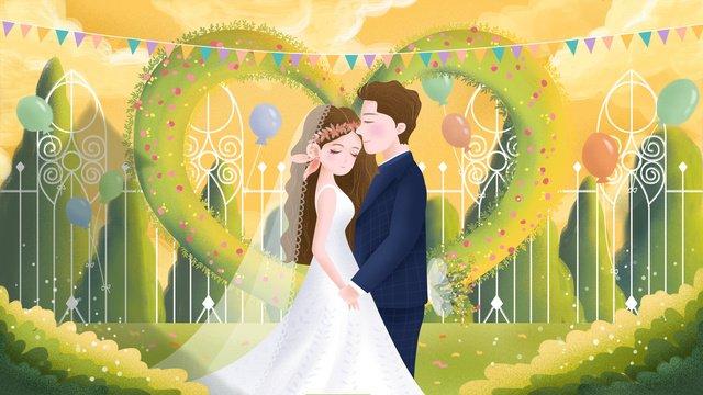 मूल हाथ से चित्रित चित्रण रोमांटिक शादी का मौसम दृश्य चित्रण छवि