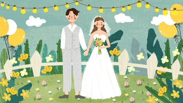 रोमांटिक शादी के मौसम की पोशाक दूल्हा दुल्हन दृश्य हाथ पेंटिंग चित्रण छवि