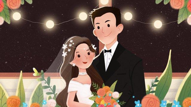 オリジナルの美しいイラストロマンチックな結婚式の季節 イラスト素材 イラスト画像