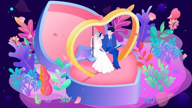 रोमांटिक शादी मीठा युगल की अंगूठी 25d चित्रण चित्रण छवि