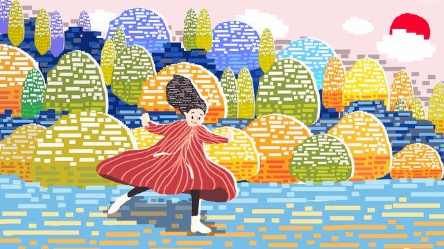 80 년대 복고풍 픽셀 단풍 그림 삽화 소재 삽화 이미지