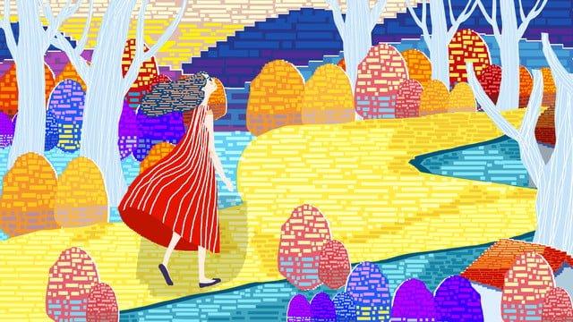 80 년대 복고풍 픽셀 가을 풍경 그림 삽화 소재 삽화 이미지
