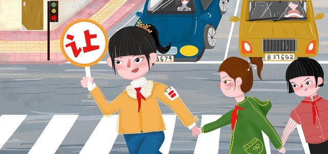 歩行者教育漫画イラストをさせるために道を渡る安全な旅行学生 イラスト素材