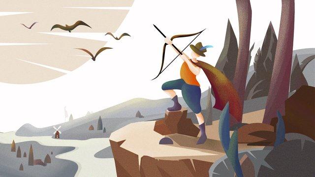 sagittarius twelve constellations forest river geese rock hand drawn illustration llustration image illustration image