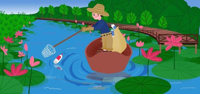 ごみ保護環境を救うために生態文明を共同構築フラット漫画イラスト イラスト素材 イラスト画像