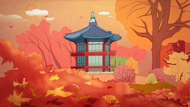경관 건축 고대 가을 경복궁 한국 추석 달 삽화 소재