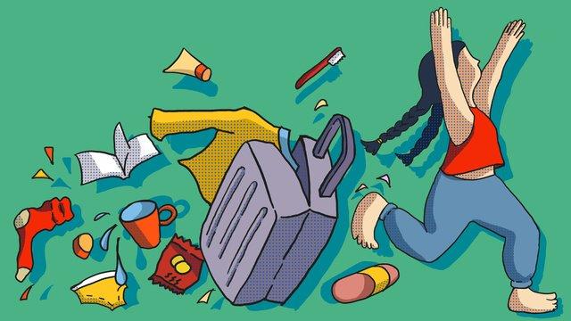 school season girl packing up happy running college illustration llustration image