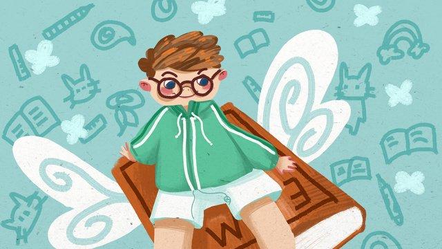 학교 시즌 소년 비즈니스 일러스트 빈티지 텍스처 삽화 소재 삽화 이미지