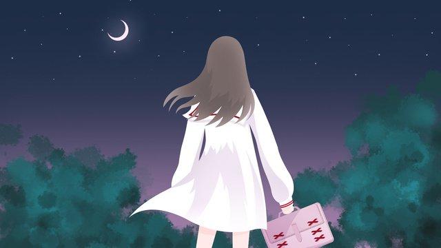 girls in the school season small fresh anime wind illustration class at night llustration image illustration image
