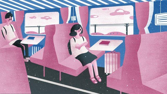 대학생 열차 여행의 원본 그림 삽화 소재