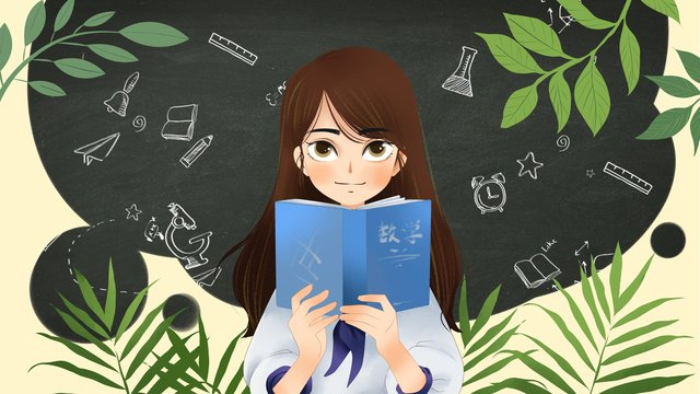 Female student in the beginning of school season, School Season, Female Student, Reading illustration image