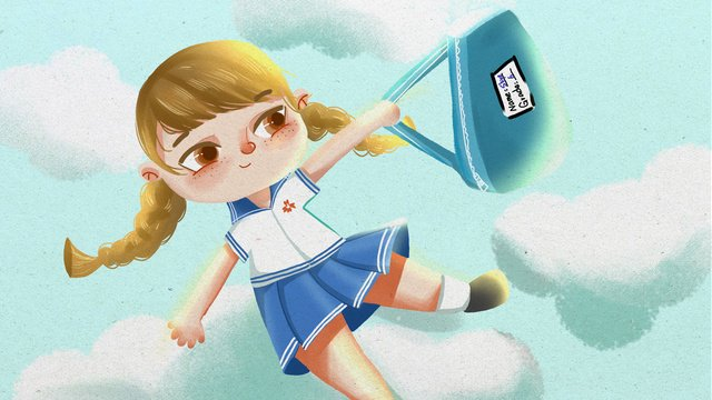 School season girl flying cute illustration business, School Season, Girl, Go To School illustration image