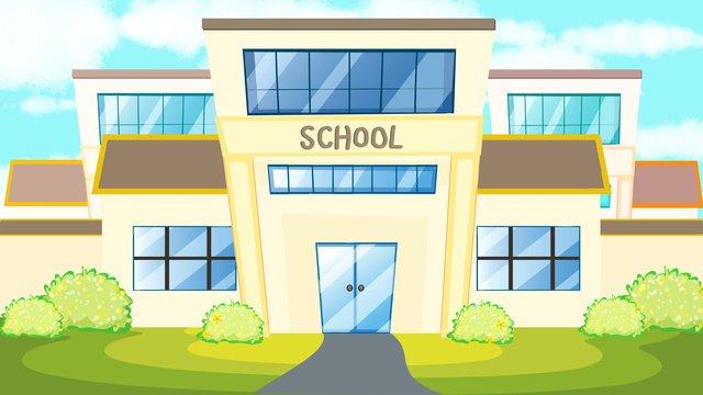 学期の始まりの学校 イラスト素材 イラスト画像