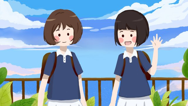 september school season students go to good morning flat style cute illustration llustration image