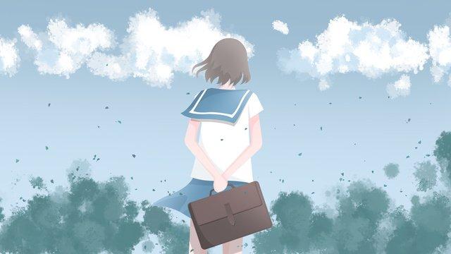 japanese small fresh illustration school uniform girl with bag in the beginning of season llustration image illustration image