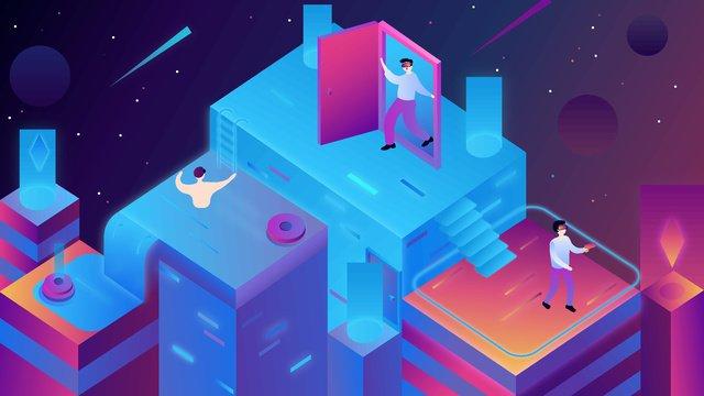 25d аксонометрическая технология vr будущая игровая сцена Ресурсы иллюстрации