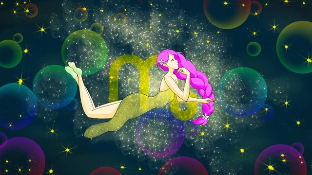 Small fresh illustration 12 constellation scorpio, Scorpio, Kneeling, Girl illustration image