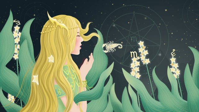 original hand painted illustration of the zodiac constellation scorpio llustration image