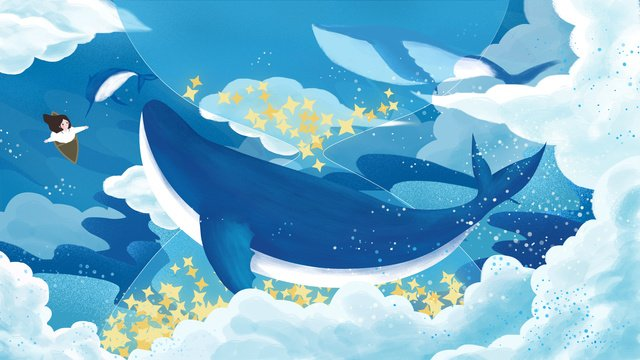 Original hand painted illustration to heal the sea and whale cloud hourglass llustration image illustration image