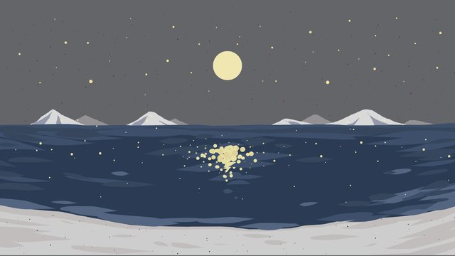 Healing illustration maritime starry sky, Sea, Month, Star illustration image