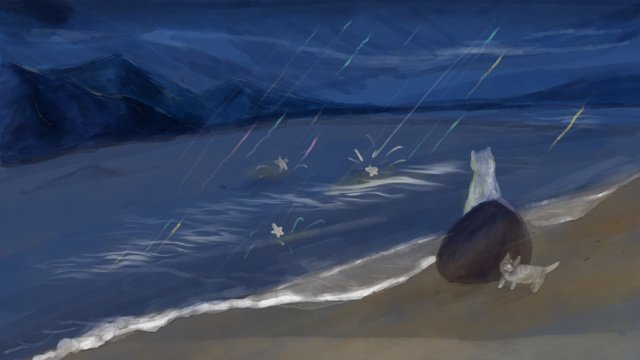 Hello good night original illustration, Sea, Starry Sky, Good Night illustration image