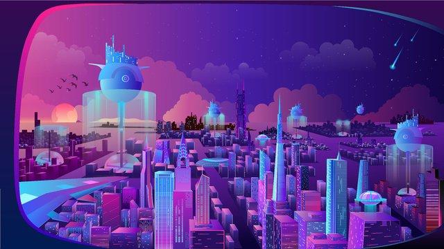 海上未來城市漸變插畫文章插畫 插畫素材 插畫圖片