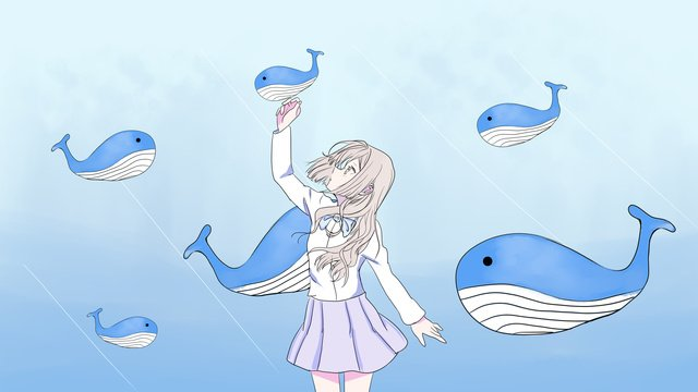 Deep sea whale girl and dream, Sea, Whale, Cure illustration image