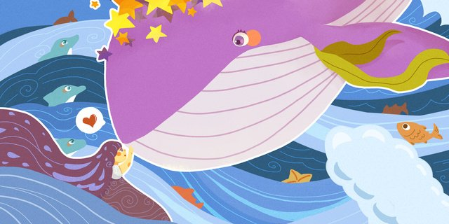 治愈系列之大海與鯨魚 插畫素材 插畫圖片