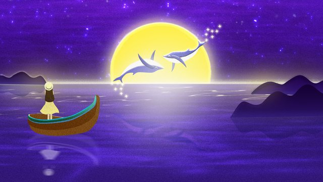 Simple dream travel wonderland cures the sea deep see whale illustrator, Sea, Whale, Girl illustration image