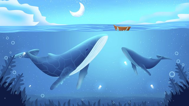 Deep sea whale illustration, Seabed, Dream, Whale illustration image