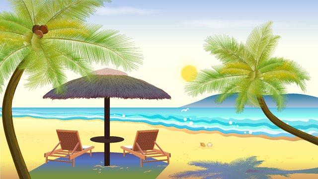 海辺の朝のベクトル図 イラスト素材 イラスト画像