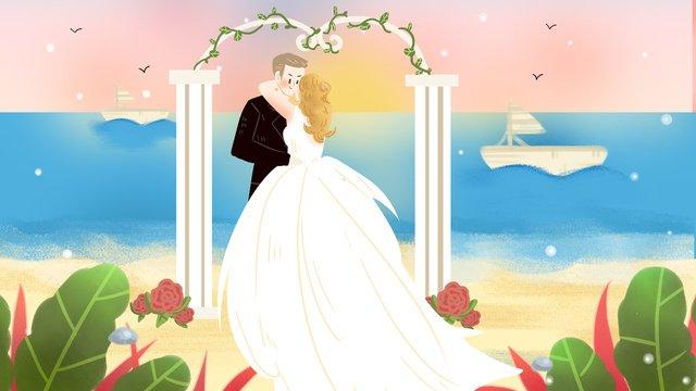 Seaside wedding bride beach sea sailing, Seaside, Wedding, Wedding Dress illustration image