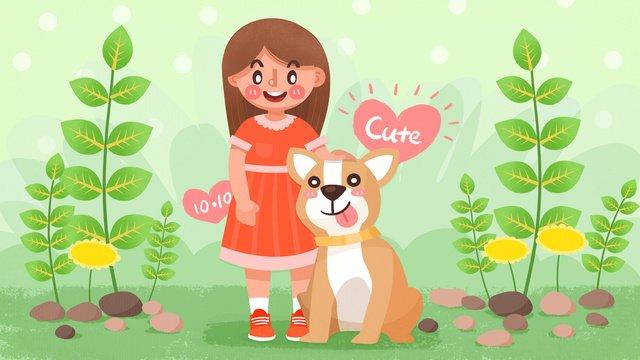 gió dễ thương bán ngày cô gái cún con minh họa Hình minh họa