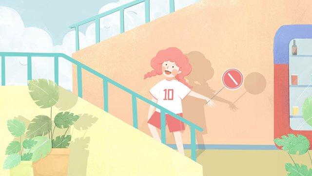 Оригинальная небольшая свежая иллюстрация продающая симпатичную девочку цвета конфеты Ресурсы иллюстрации