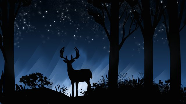 deer illustration poster with forest and cure under the stars llustration image illustration image