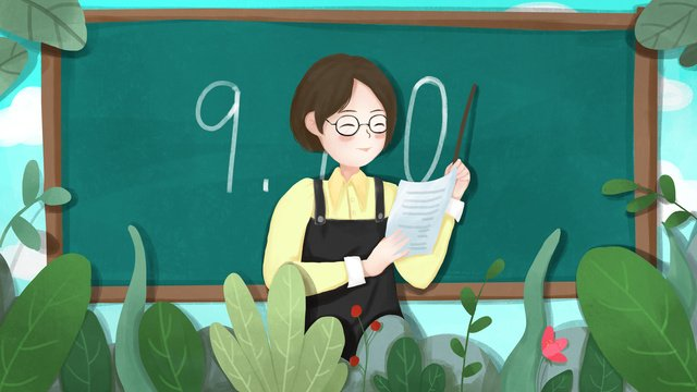 Simple and fresh teachers day teacher you are the most beautiful, September 10, Teachers Day, Teacher illustration image