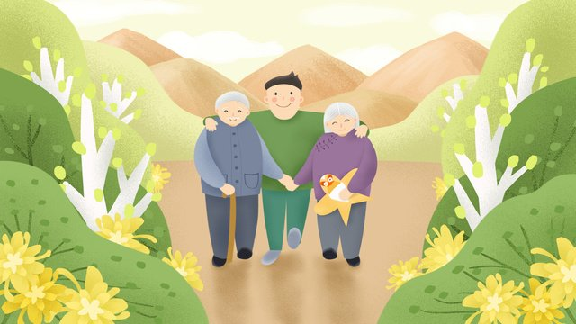 オリジナル手描きイラスト9月9日chongyang祭りおじいさんの荒野 イラスト素材 イラスト画像