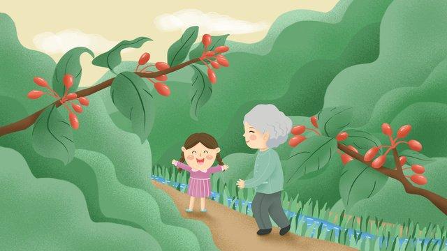 オリジナルの手描きイラスト9月9日chongyang祭り老人と女 イラスト素材 イラスト画像